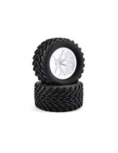 Truck Tyre Mounted Mega V 12 Spoke White 12mm Hex (par)