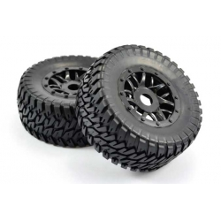 Short Course Tyre Mounted Canyon SC Tyre Slash Rear & 4x4 F/R Black Wheel 12mm Hex (pair)