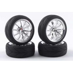 Touring Car Tyre Mounted Treaded 10 Spoke Chrome Wheel (4 pcs)