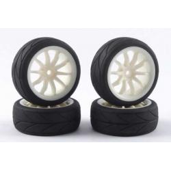 Touring Car Tyre Mounted Treaded 10 Spoke White Wheel (4 pcs)