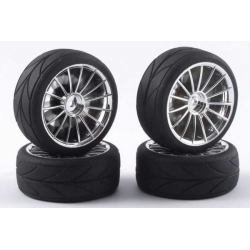 Touring Car Tyre Mounted Treaded 15 Spoke Chrome Wheel (4 pcs)