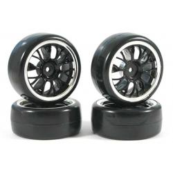 Touring Car Tyre Mounted Drift 10 Spoke Y Spoke Street Black Chrome Wheel (4 pcs)