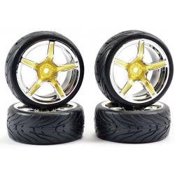 Touring Car Tyre Mounted Treaded 5 Spoke Gold Chrome Wheel (4 pcs)