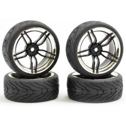 Touring Car Tyre Mounted Treaded 10 Spoke Black Chrome Wheel (4 pcs)