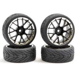 Touring Car Tyre Mounted Treaded Y Spoke Black Chrome Wheel (4 pcs)