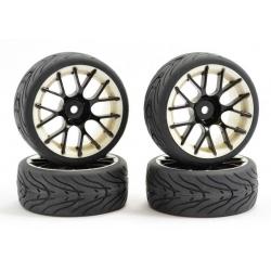 Touring Car Tyre Mounted Treaded Y Spoke White Black Wheel (4 pcs)