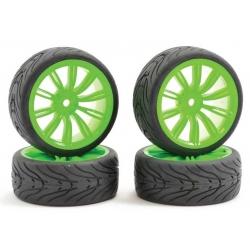 Touring Car Tyre Mounted Treaded 20 Spoke Neon Green Wheel (4 pcs)