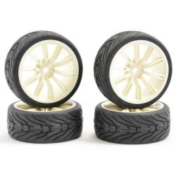 Touring Car Tyre Mounted Treaded 20 Spoke White Wheel (4 pcs)