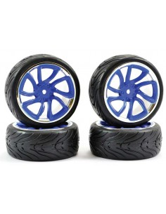 Touring Car Tyre Mounted Tri-5 Spoke Street Blue Chrome Wheel (4 pcs)