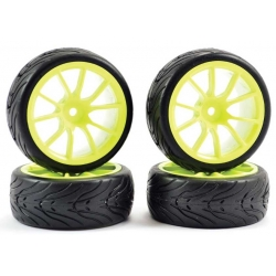 Touring Car Tyre Mounted 10 Spoke Street Yellow Wheel (4 pcs)