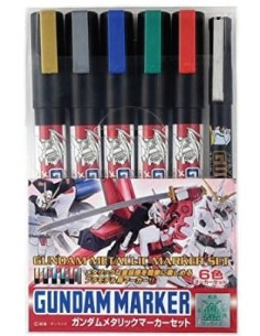 MrHobby (Gunze) - GMS121 - Gundam Marker Metallic Set of 6  - Hobby Sector