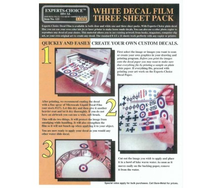 White Decal Film Three Sheet Pack For Laser