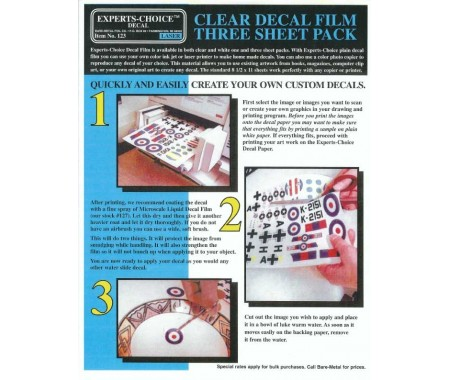 Clear Decal Film Three Sheet Pack For Laser