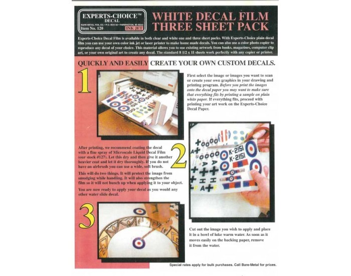 White Decal Film Three Sheet Pack For Inkjet