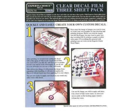 Clear Decal Film Three Sheet Pack For Inkjet