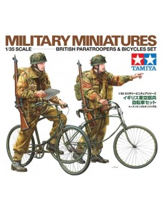 Military Miniatures British Paratroopers & Bicycles Set