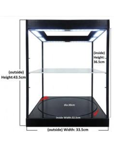 Vitrine com 2 Níveis, LEDs e Base Rotativa (Cinzenta)