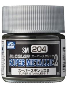 MrHobby (Gunze) - SM204 - SM204 Super Stainless 2 - 10ml Super Metallic 2 Tinta Lacquer  - Hobby Sector