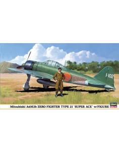 Hasegawa - 09904 - Mitsubishi A6M2b Zero Fighter Type 21 'Super Ace' w/Figure  - Hobby Sector