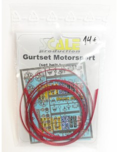 Scale Production - E24007R - Gurtset Motorsport Seat belts and Buckles - Red  - Hobby Sector