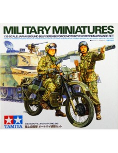 Tamiya - 35245 - MILITARY MINIATURES JAPANESE GROUND SELF DEFENSE FORCE MOTORCYCLE RECONNAISSANCE SET  - Hobby Sector