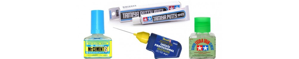 Glues and Fillers for plastic, wood and cork kits